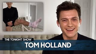 Tom Holland Shows Off His Viral Pants-less Look for Virtual Interviews | The Tonight Show