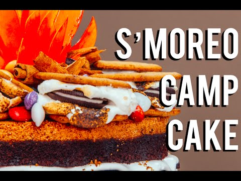 how-to-make-a-s'moreo-campfire-cake!-chocolate-cakes,-frosting,-s'mores,-and-oreos!