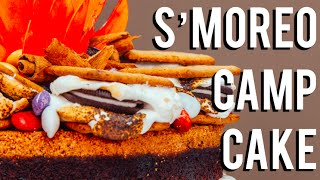 How To Make A SMOREO CAMPFIRE CAKE! Chocolate cakes, frosting, SMORES, and OREOS!