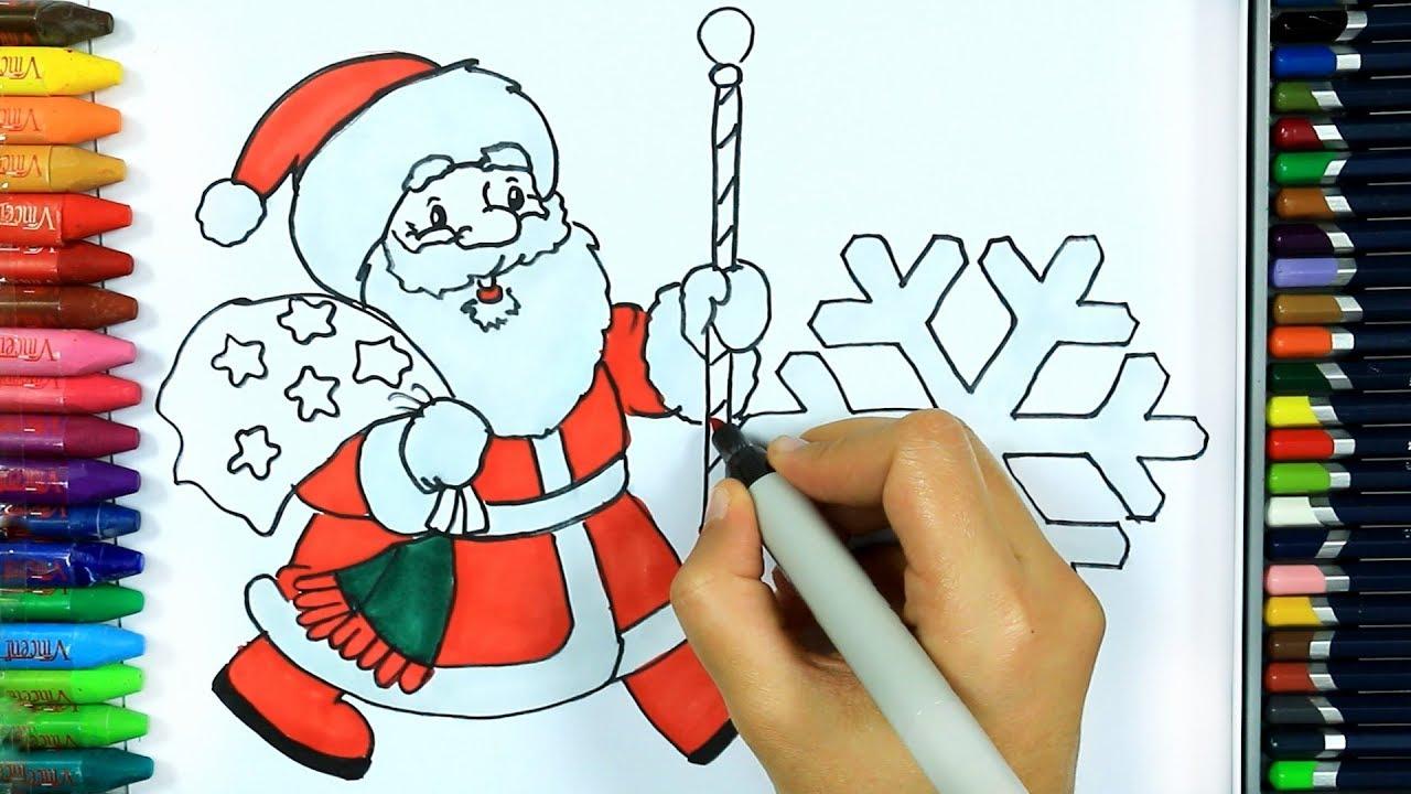 Bambini Babbo Natale Disegno.Come Disegnare E Colorare Babbo Natale Disegno Colorare Come Colorare Per Bambini Youtube