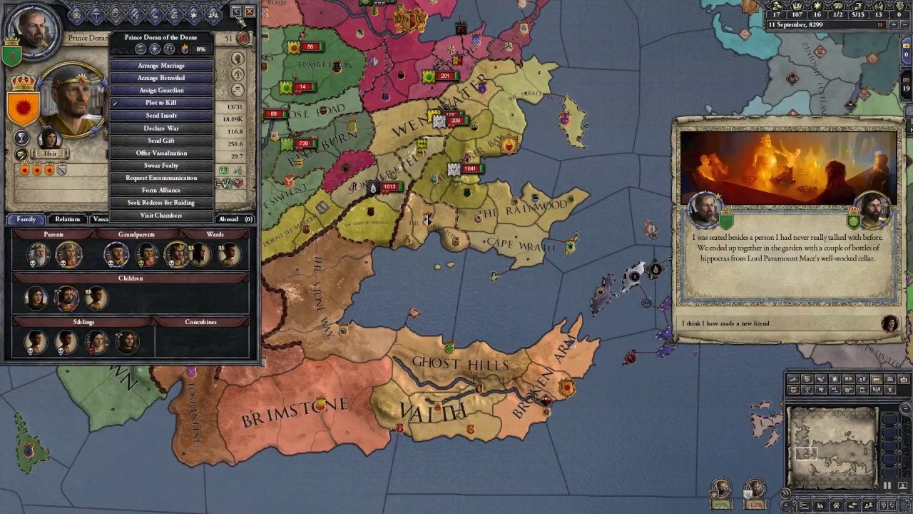 Let's Play CK2 AGOT Mod Iron Throne Challenge Joel as House Tarly ep1
