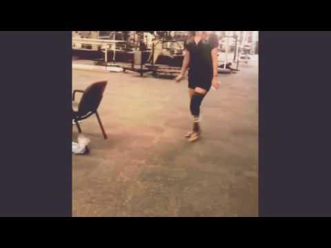 Lbk amputee girl walking with her new prosthetic leg