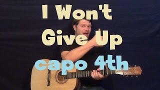I Won't Give Up (Jason Mraz) Easy Strum Guitar Lesson Licks TAB Capo 4th Fret Mp3