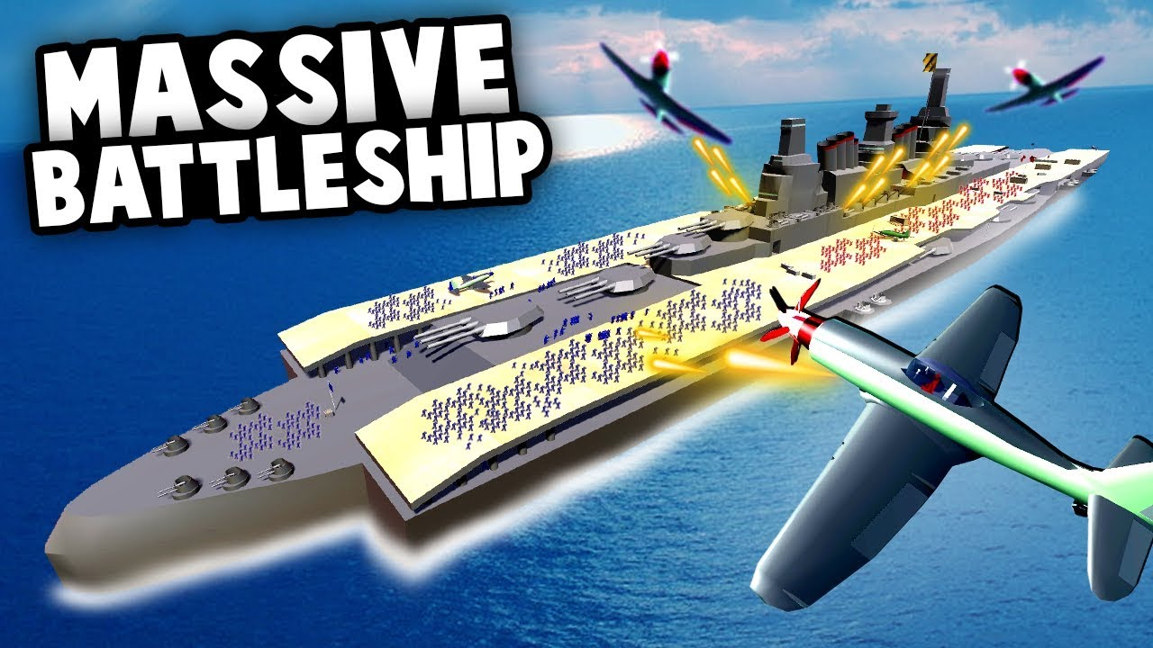 The BIGGEST BATTLESHIP Ever Made! MASSIVE Naval BATTLE! (Ravenfield