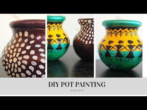 DIY Pot Painting  How To Decorate Pot  Warli Art Inspired Pot Painting Pot Painting For Beginners