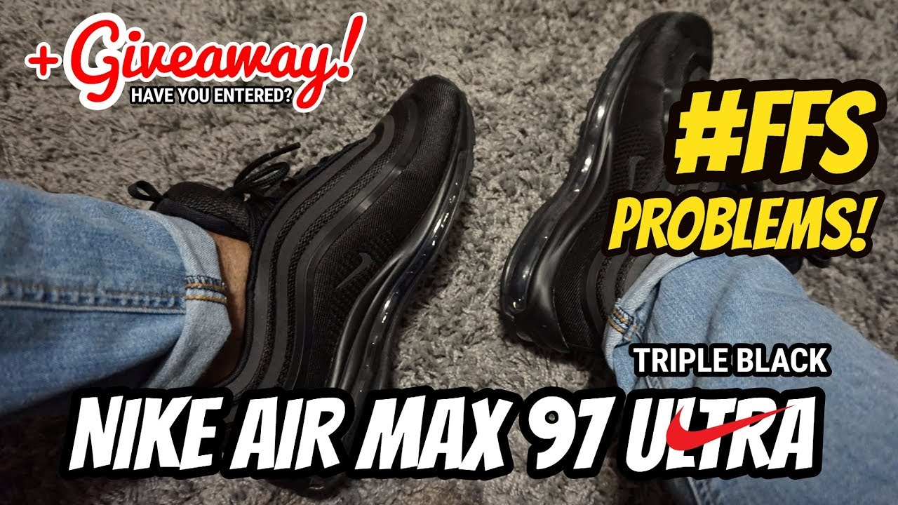 huge selection of 0d48e a9309 Nike Air Max 97 Ultra Triple Black On Feet - Watch Before You Buy!