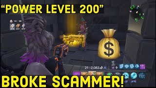 SCAMMER HAS A POWER LEVEL 200 GUN! (SCAMMER GETS SCAMMED) Fortnite - Save The World