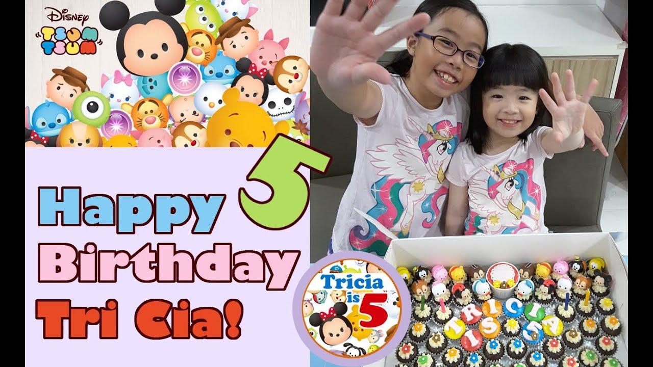 Tri Tri is 5 Disney Tsum Tsum 5th Birthday Cake and Cupcakes