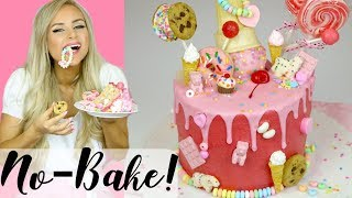 How To Make The Ultimate No-Bake Rice Krispies Treat Candy Drip Cake // Lindsay Ann Bakes