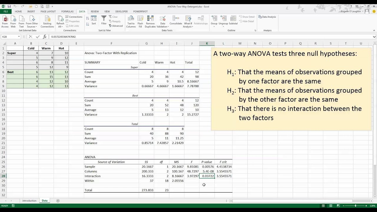 How to perform a two way anova in excel 2013 youtube for 1 way anova table