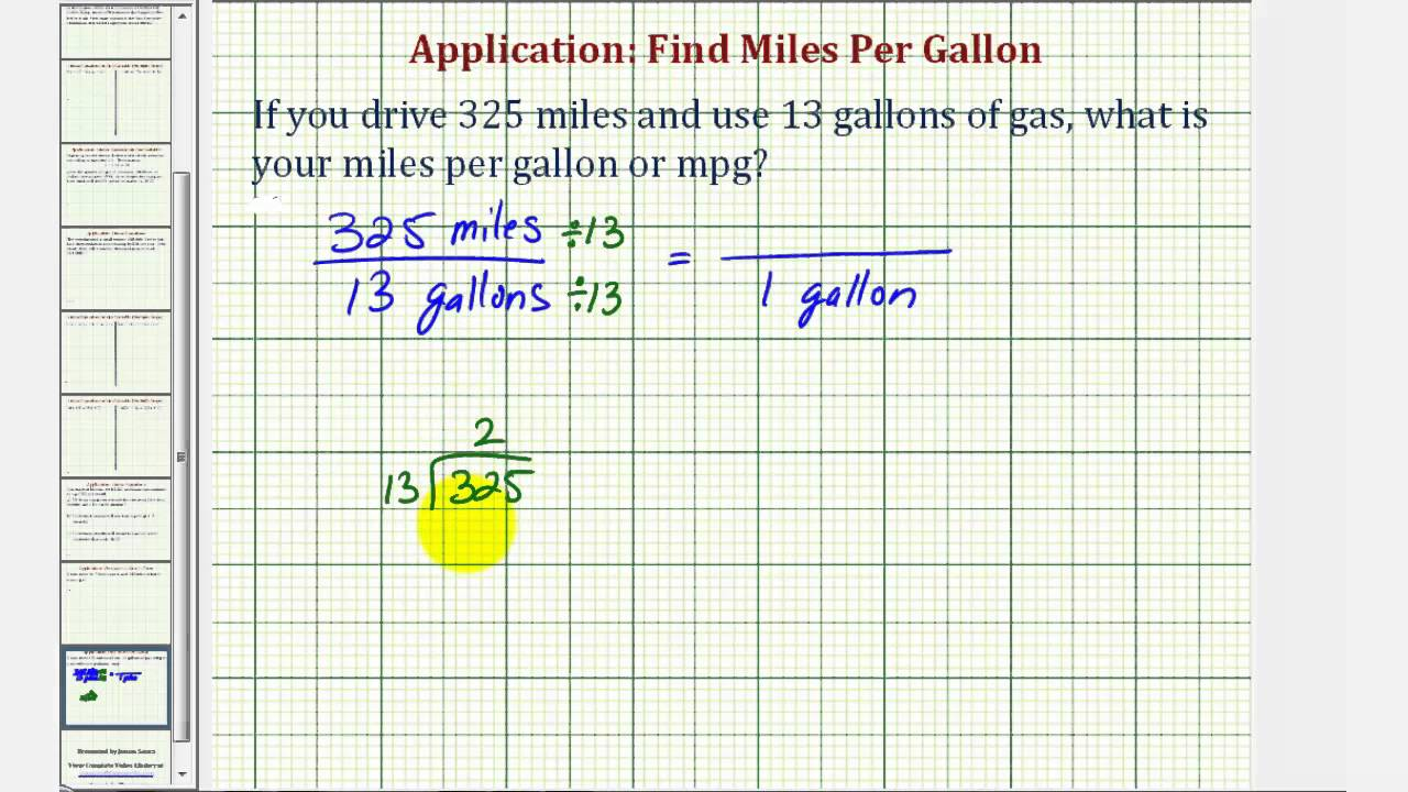Ex Unit Rate Miles Per Gallon