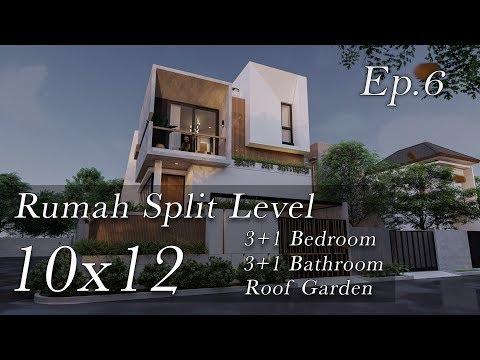 Desain Rumah Split Level Lahan Hook 10x12
