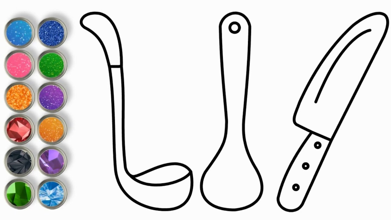 Glitter Kitchen Tools Coloring page for Kids 💚💙❤️ Draw Kitchen Tools 💚💙❤️ Coloring Book