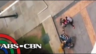 People blown off their feet by typhoon