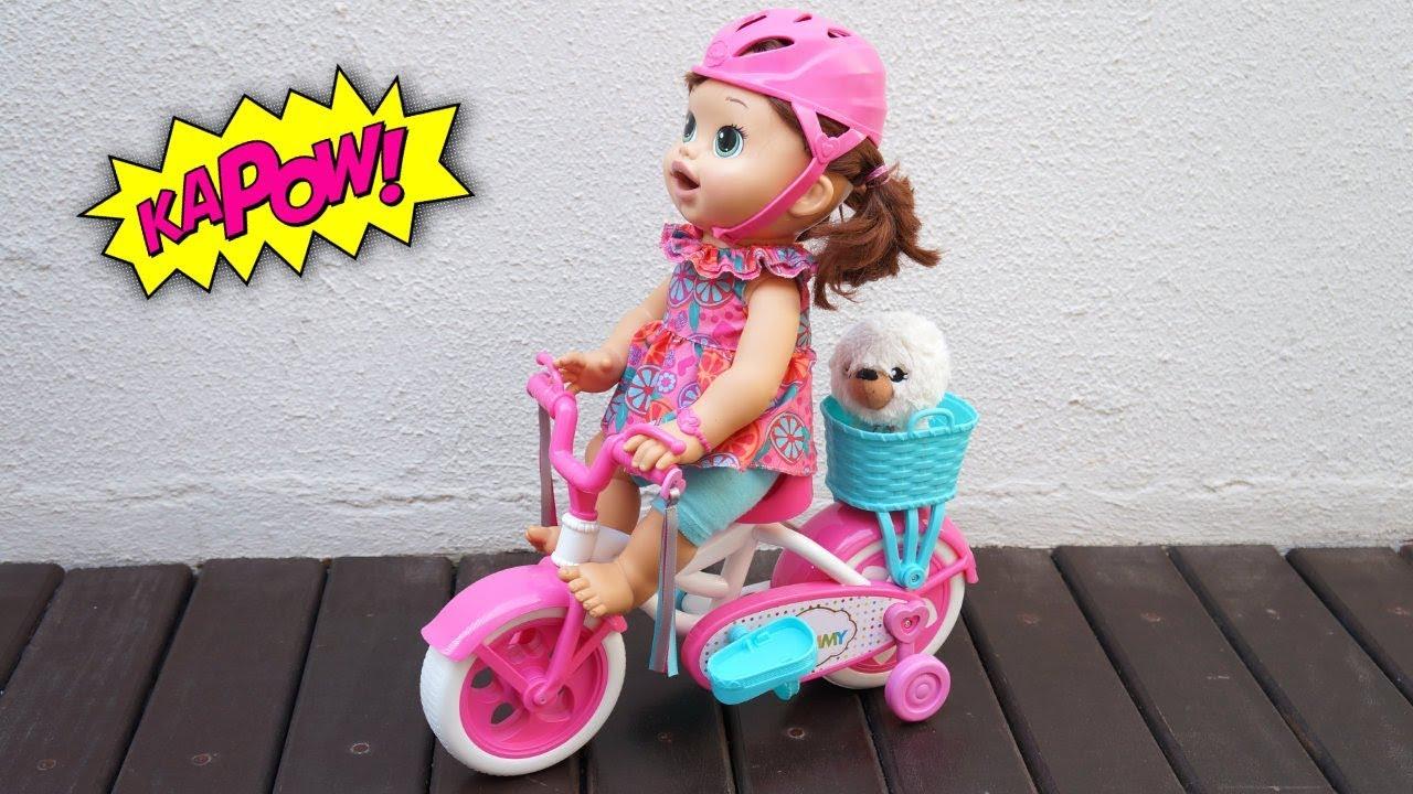 Baby Alive Sara Comilona Andando De Bicicleta Minha Boneca