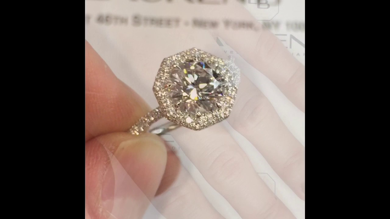 2 Carat Round Diamond Engagement Ring In Octagon Halo