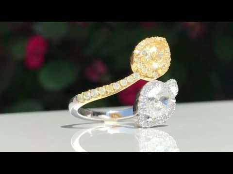 Fancy Yellow Pear Shape Cross Over Ring - Cobymadison Jewelers