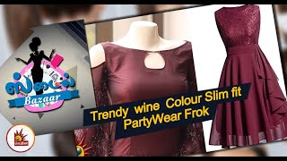 Trendy wine Colour Slim fit Party Wear Frok | Latest Designer collection | Style Bazaar