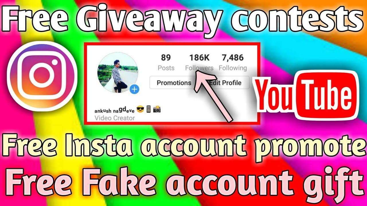 Free Instagram Promote Account And Fake Account Gift How To Get Free Promotion On Instagram Youtube