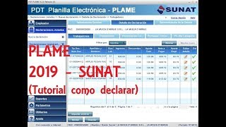 Como declarar el PDT PLAME 2019 - Sunat