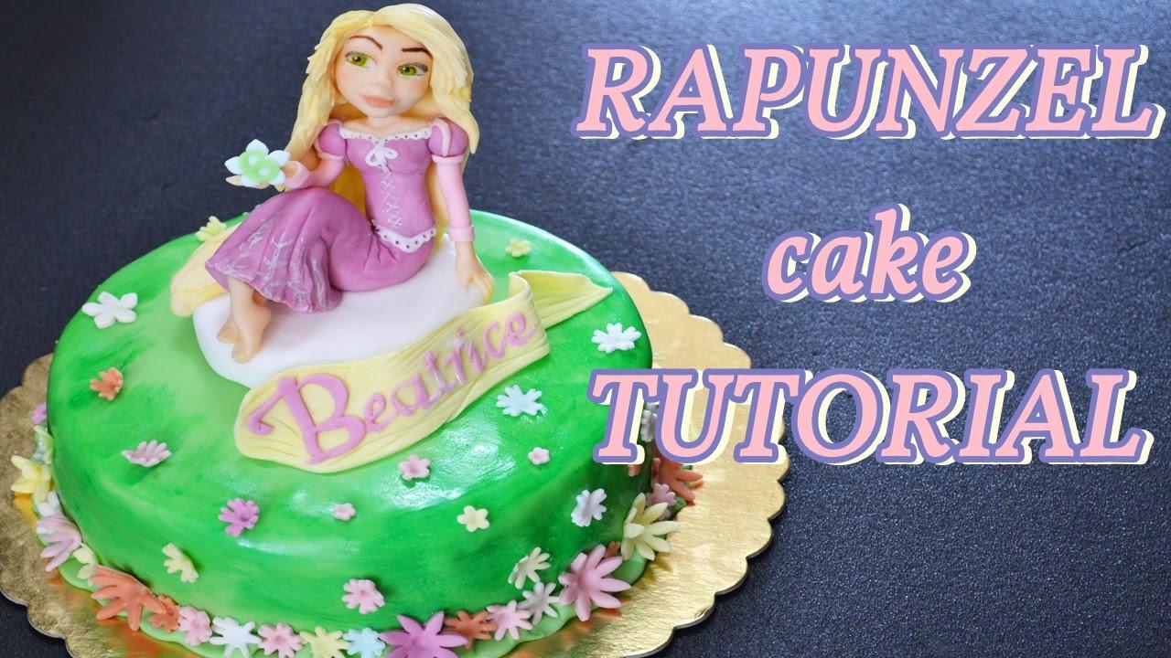rapunzel cake with fondant torta rapunzel in pasta di zucchero youtube. Black Bedroom Furniture Sets. Home Design Ideas