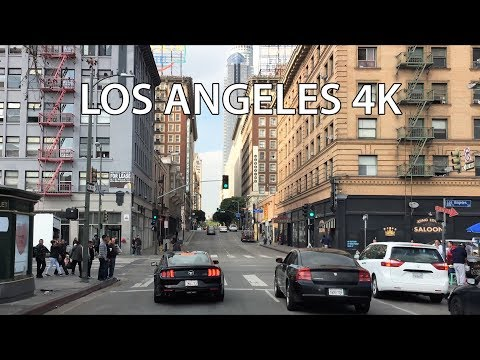 Driving Downtown - LA's City Center - Los Angeles California USA