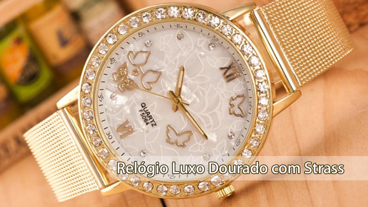 335246fc30b Relógio De Pulso Feminino Dourado Com Strass Pulseira Luxo - YouTube