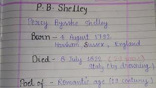 P. B. Shelley~ important questions (rmlau BA -1)