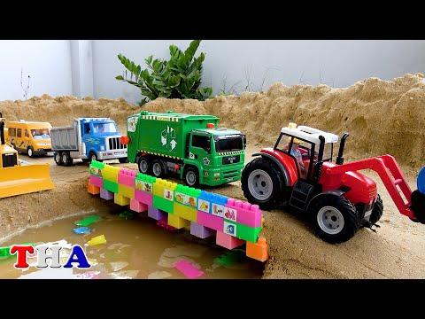Biboเล่นสร้างสะพานรถขยะแม็คโครรถไถรถตำรวจรถบรรทุกรถโม่ปูน