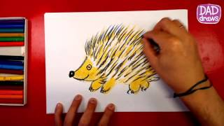 How to draw a Hedgehog / oil pastel / art for kids