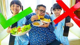 หนูยิ้มหนูแย้มเล่นละครพ่อบอมอ้วน YimYam teaches dad to eat healthy food and exercise