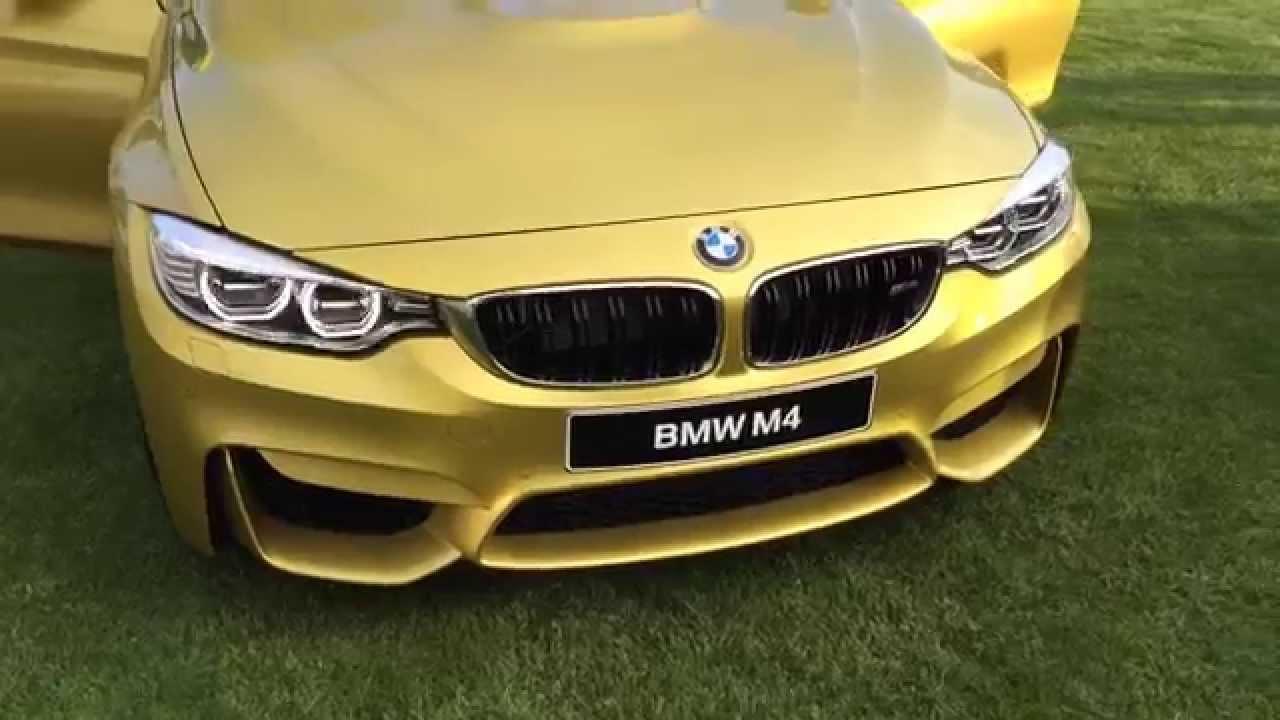 New bmw m4 premiere and first glance yellow gold 2014 for Metallic yellow paint