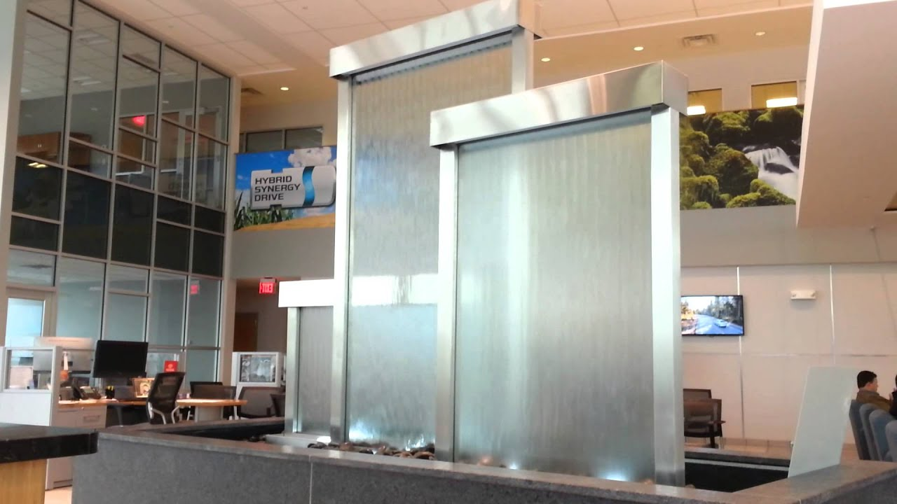 Glass Water Walls Custom Waterfall Feature In Lobby Youtube