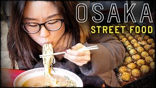 JAPANESE STREET FOOD in Osaka at Dotonbori Street