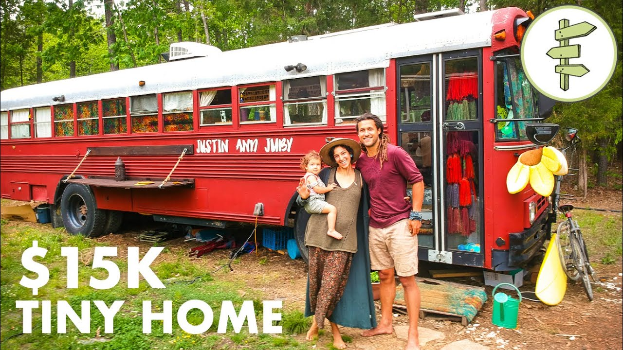 Fantastic School Bus Tiny House Conversion for Family of 3 - Full Tour & Interview