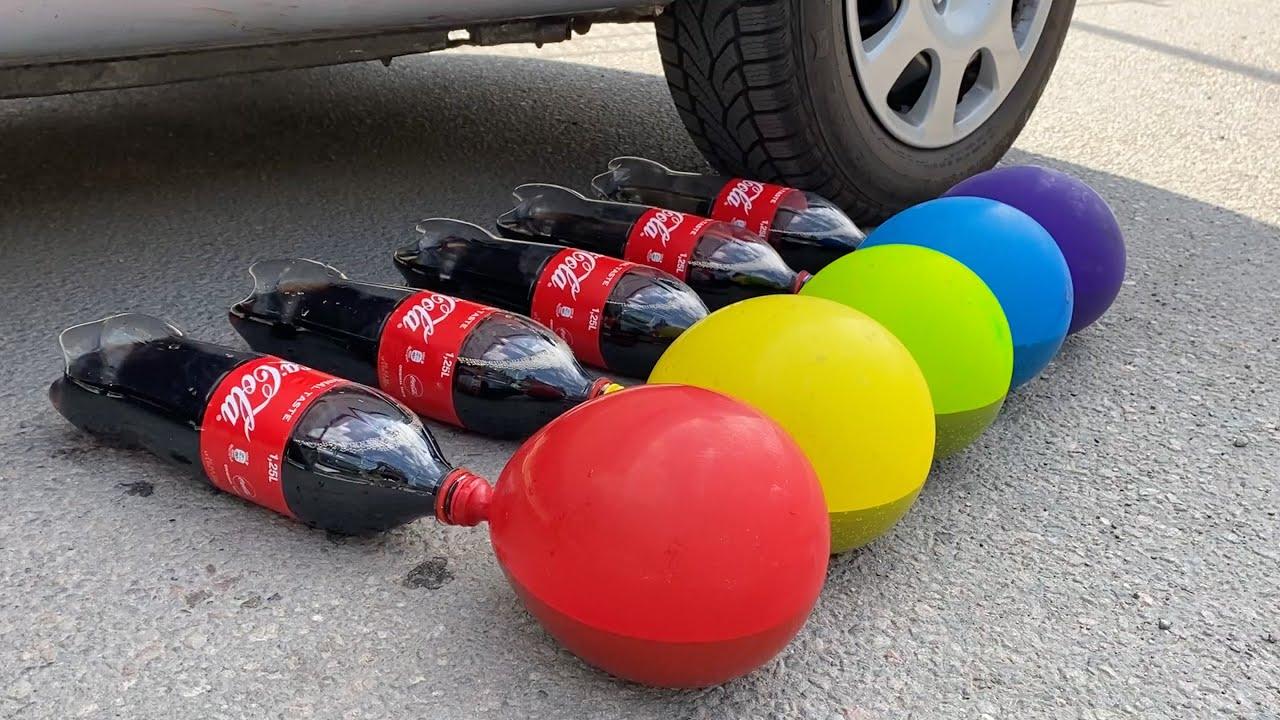 Crunchy & Soft Things by Car! EXPERIMENT: Car vs Coca Cola,Pepsi, Fanta, Sprite Balloons