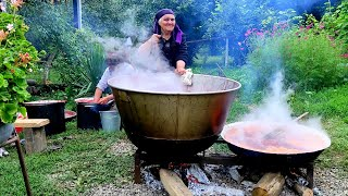 Cooking Azerbaijani Sour Sweet Sauce from Cherry Plum in  Viking Pan