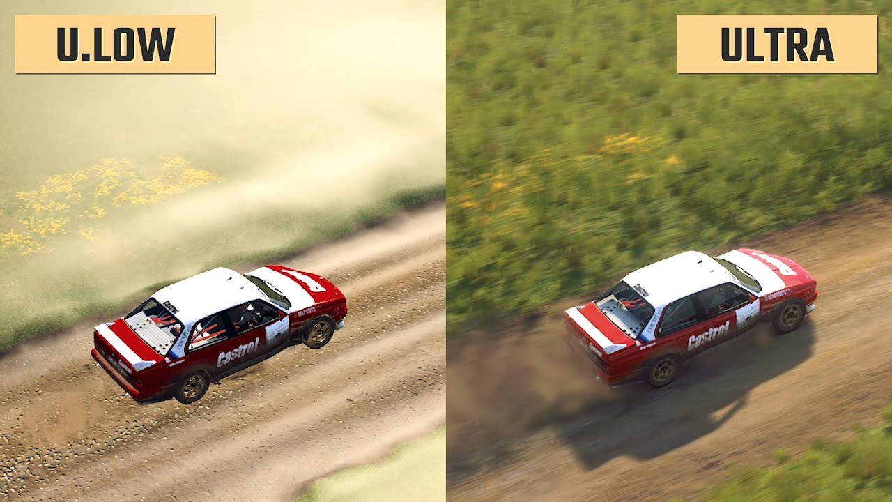 dirt rally 2 0 ultra low vs ultra graphics comparison. Black Bedroom Furniture Sets. Home Design Ideas