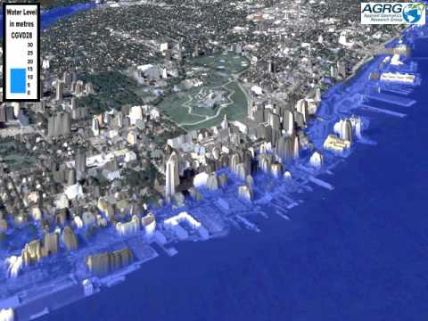 Halifax, Nova Scotia flood model - 0 to 30 m relative to CGVD28 - Downtown Halifax view