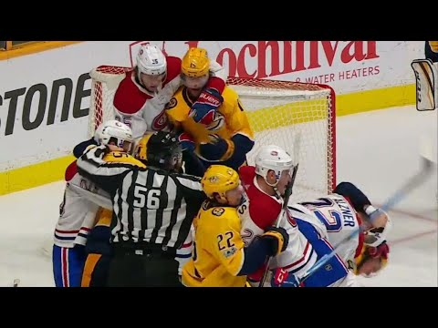 Predators and Canadiens have mini rumble after Rinne shoves Gallagher