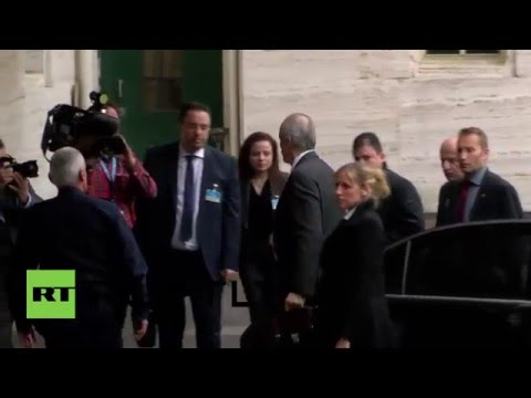 Switzerland: Syrian govt. delegation arrives at Palace of Nations for peace talks
