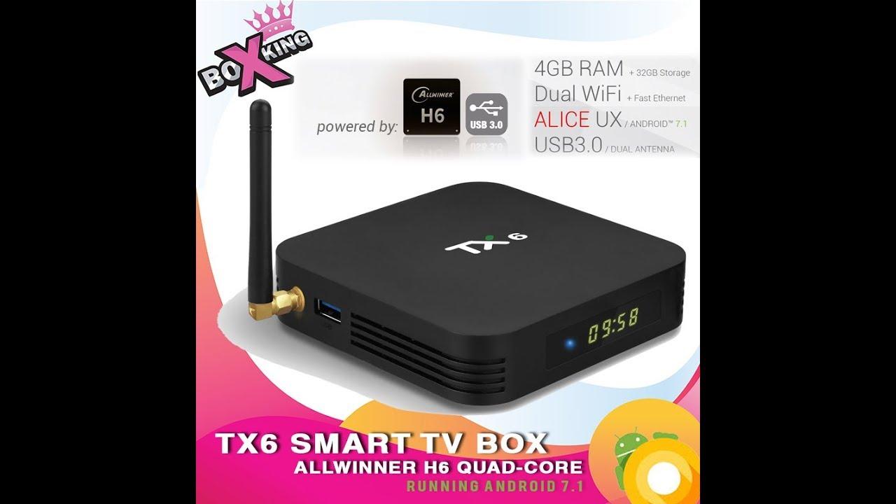 Tanix TX6 4gb 32gb Allwinner H6 Alice UI unbox Antutu stress test review  demo