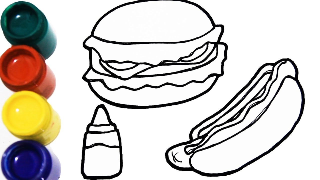Drawing And Coloring Burger And Hotdog For Kids Toddlers