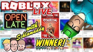 Robux Giveaway WINNER live! Roblox Charity Livestream | Open Late with Schlamaddy | Family Friendly