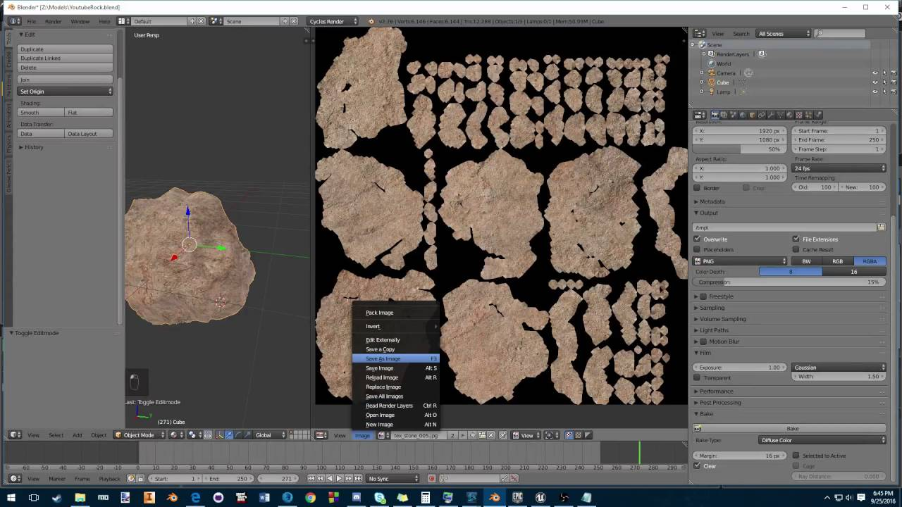 How to use Blender to export textures to unreal engine 4