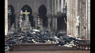 Нотр-Дам-де-Пари после разрушительного пожара — видео из собора