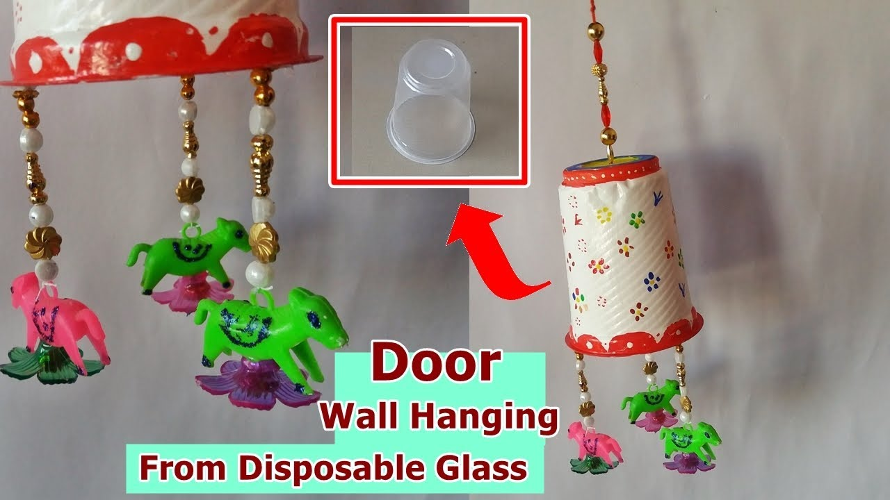 Diy How To Make Door Wall Hanging From Disposable Glass Waste