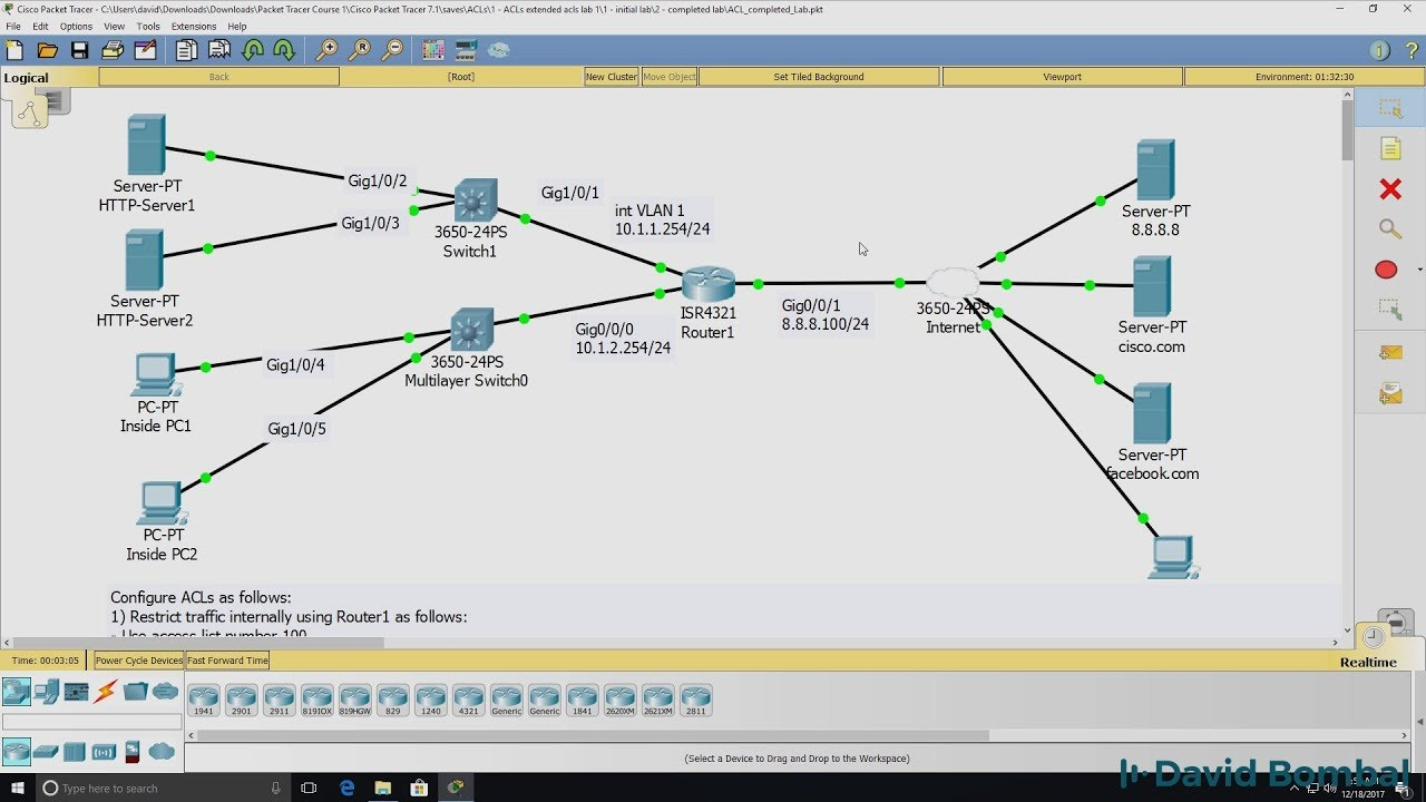 Cisco CCNA Packet Tracer Ultimate labs: ACL Lab 1 (access lists): Can you  complete the lab?