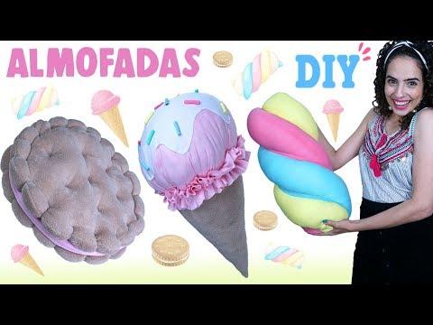 DIY ALMOFADAS FOFAS DE DOCES 🍭: SORVETE, BISCOITO & MARSHMALLOW | Paula Stephânia
