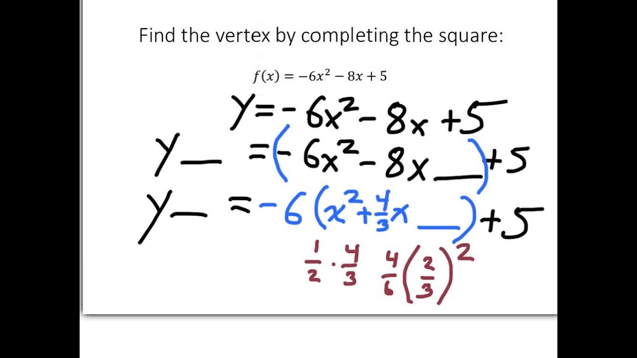 Completing the square to find the vertex of a quadratic function 3 completing the square to find the vertex of a quadratic function 3 ccuart Choice Image